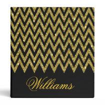 Cool trendy chevron zigzag gold faux glitter binder