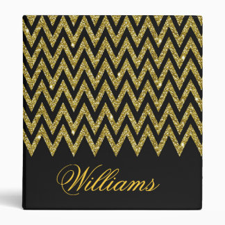 Cool trendy chevron zigzag gold faux glitter binder