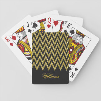 Cool trendy chevron zigzag gold faux glitter deck of cards