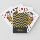 "Cool trendy chevron zigzag gold faux glitter playing cards<br><div class=""desc"">Cool trendy chevron zigzag gold faux glitter pattern, monogram, shining, glowing stars, dark grey background, vibrant gold colour, gold yellow, dark grey, white color, fashionable, trendy, cute, awesome, pretty, popular, decorative, custom, unique, art, fresh, beautiful, fashion, shabby chic, elegant, modern image. Personalise your name, surname, or favourite words, or delete...</div>"