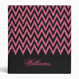 Cool trendy chevron zigzag hot pink faux glitter binder