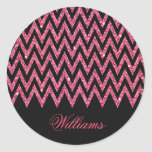 Cool trendy chevron zigzag hot pink faux glitter classic round sticker