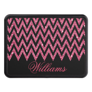 Cool trendy chevron zigzag hot pink faux glitter tow hitch cover