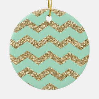 Cool Trendy Chevron Zigzag Mint Faux Gold Glitter Ceramic Ornament