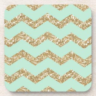 Cool Trendy Chevron Zigzag Mint Faux Gold Glitter Coaster