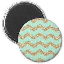 Cool Trendy Chevron Zigzag Mint Faux Gold Glitter Magnet