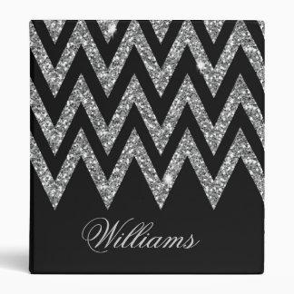 Cool trendy chevron zigzag silver faux glitter binder