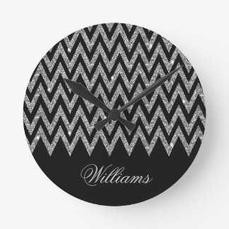 Cool trendy chevron zigzag silver faux glitter round wallclock