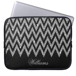 Cool trendy chevron zigzag silver faux glitter computer sleeve