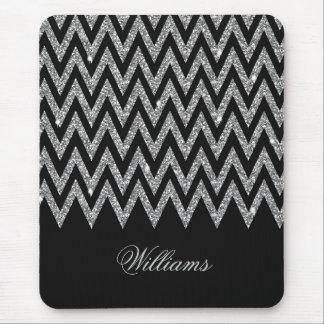 Cool trendy chevron zigzag silver faux glitter mouse pad