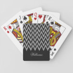 "Cool trendy chevron zigzag silver faux glitter playing cards<br><div class=""desc"">Cool trendy chevron zigzag silver faux glitter pattern, monogram, shining, glowing stars, dark grey background, vibrant silver grey, white colours, silver grey , dark grey, white color, fashionable, trendy, cute, awesome, pretty, popular, decorative, custom, unique, art, fresh, beautiful, fashion, shabby chic, elegant, modern image. Personalise your name, surname, or favourite...</div>"
