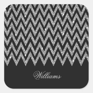 Cool trendy chevron zigzag silver faux glitter square stickers