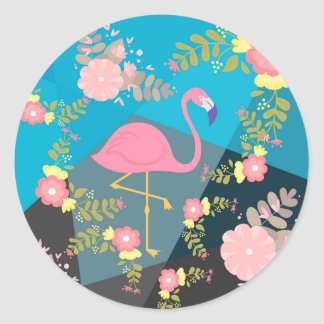 Cool Trendy Chic Cute Pink Girly Floral Flamingo Classic Round Sticker