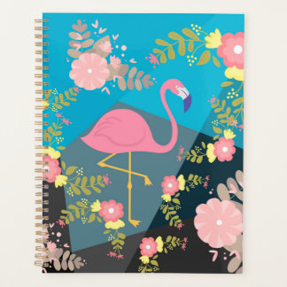 Cool Trendy Chic Cute Pink Girly Floral Flamingo Planner
