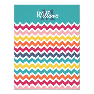 Cool trendy colourful custom Monogram chevron Card