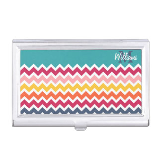 Cool trendy colourful custom Monogram chevron Case For Business Cards