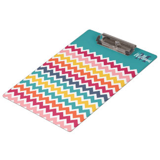 Cool trendy colourful custom Monogram chevron Clipboards