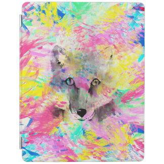 Cool trendy colourful vibrant fox abstract paint iPad smart cover
