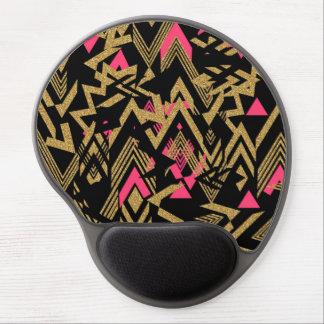 Cool trendy faux gold glitter geometric pattern gel mouse pad