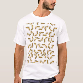 Cool trendy faux gold glitter high heel shoes T-Shirt