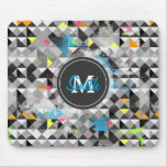 Cool trendy geometric monogram triangles pattern mouse pad