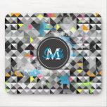 Cool trendy geometric monogram triangles pattern mousepad