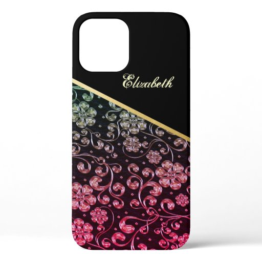 Cool Trendy Gold Black Flowers-Personalized  iPhone 12 Case