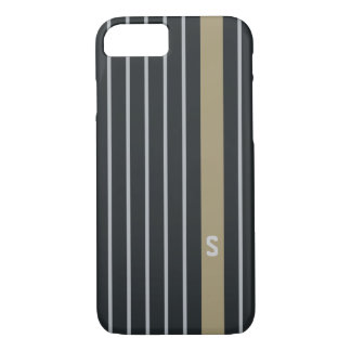 Cool trendy masculine black grey stripes monogram iPhone 7 case