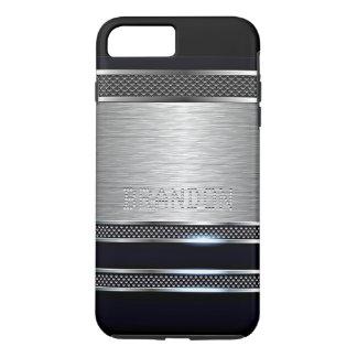 Cool Trendy Modern Faux Shiny Metal Stripe Pattern iPhone 7 Plus Case