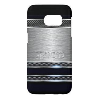Cool Trendy Modern Faux Shiny Metal Stripe Pattern Samsung Galaxy S7 Case