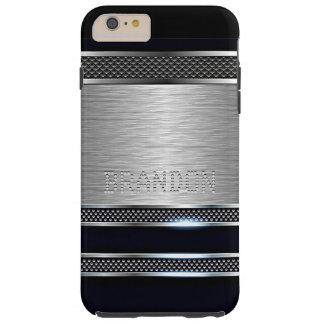 Cool Trendy Modern Faux Shiny Metal Stripe Pattern Tough iPhone 6 Plus Case