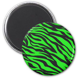Cool Trendy Neon Lime Green Zebra Stripes Pattern 2 Inch Round Magnet