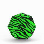 Cool Trendy Neon Lime Green Zebra Stripes Pattern Awards