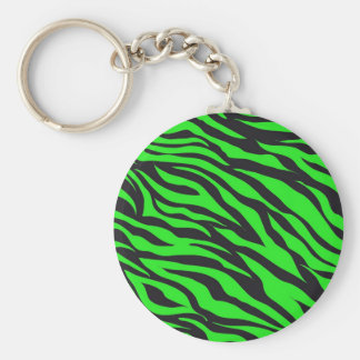 Cool Trendy Neon Lime Green Zebra Stripes Pattern Basic Round Button Keychain