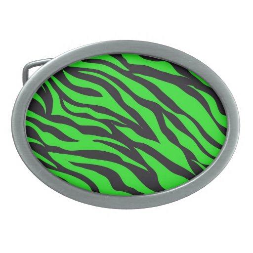 Cool Trendy Neon Lime Green Zebra Stripes Pattern Belt Buckle