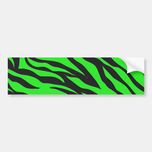 Cool Trendy Neon Lime Green Zebra Stripes Pattern Car Bumper Sticker