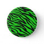 Cool Trendy Neon Lime Green Zebra Stripes Pattern Pins