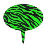 Cool Trendy Neon Lime Green Zebra Stripes Pattern Oval Cake Topper