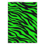 Cool Trendy Neon Lime Green Zebra Stripes Pattern Cards