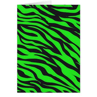 Cool Trendy Neon Lime Green Zebra Stripes Pattern Card
