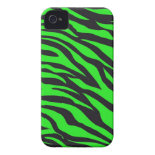 Cool Trendy Neon Lime Green Zebra Stripes Pattern Case-Mate iPhone 4 Case