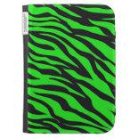 Cool Trendy Neon Lime Green Zebra Stripes Pattern Kindle Case