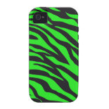 Cool Trendy Neon Lime Green Zebra Stripes Pattern Case-Mate iPhone 4 Cases