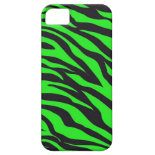 Cool Trendy Neon Lime Green Zebra Stripes Pattern iPhone 5 Cases