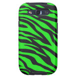Cool Trendy Neon Lime Green Zebra Stripes Pattern Galaxy SIII Cases