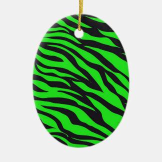 Cool Trendy Neon Lime Green Zebra Stripes Pattern Ceramic Ornament