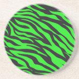 Cool Trendy Neon Lime Green Zebra Stripes Pattern Beverage Coaster