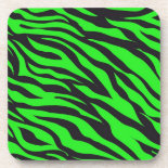 Cool Trendy Neon Lime Green Zebra Stripes Pattern Beverage Coasters