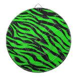 Cool Trendy Neon Lime Green Zebra Stripes Pattern Dartboards