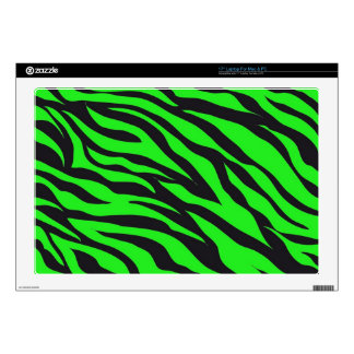 Cool Trendy Neon Lime Green Zebra Stripes Pattern Decals For Laptops